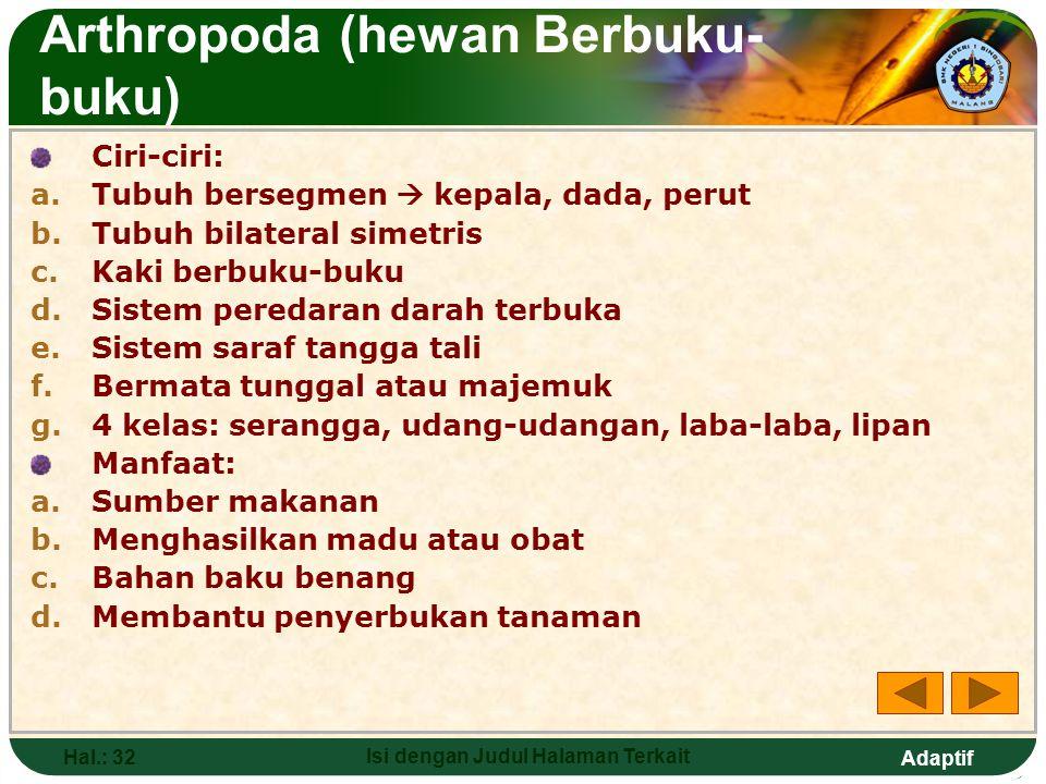 Adaptif Hal.: 31 Isi dengan Judul Halaman Terkait Contoh Annelida