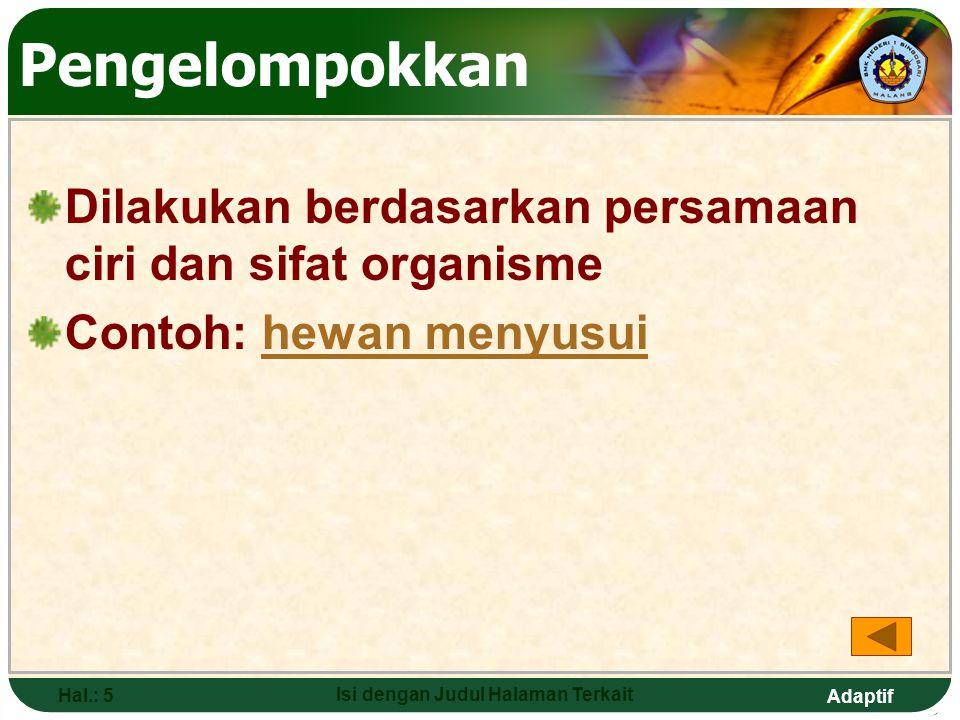 Adaptif Hal.: 45 Isi dengan Judul Halaman Terkait MONERA Kelompok makhluk hidup bersel satu, bersifat prokariotik (tidak punya membran inti, bahan sel tersebar dalam sitoplasma) Ciri-ciri: a.Tidak punya membran sel b.Tidak punya inti sel c.Beberapa memiliki flagella untuk bergerak d.Berkerbang biak  aseksual, tidak terdapap peristiwa mitosis dan meiosis Anggota: a.BakteriBakteri b.Ganggang biru (cyanophyceae)Ganggang biru (cyanophyceae)