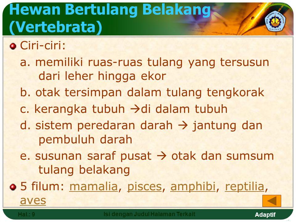Adaptif Hal.: 8 Isi dengan Judul Halaman Terkait HEWAN (ANIMALIA) Ciri-ciri: 1.