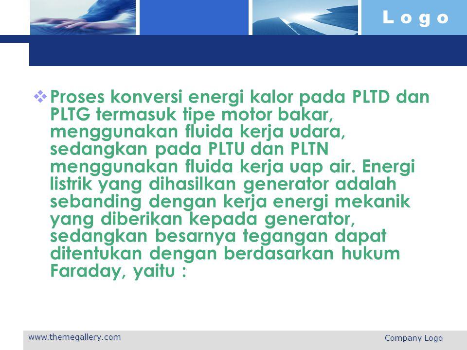 L o g o www.themegallery.com Company Logo dimana : e: tegangan yang dibangkitkan gaya gerak listrik, ggl N: jumlah lilitan jangkar : perubahan fluksi (terhadap waktu) yang melingkupi bidang permukaan lilitan jangkar
