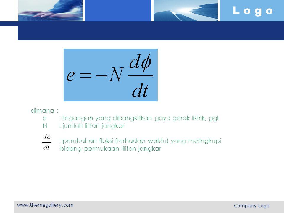 L o g o www.themegallery.com Company Logo dimana : e: tegangan yang dibangkitkan gaya gerak listrik, ggl N: jumlah lilitan jangkar : perubahan fluksi