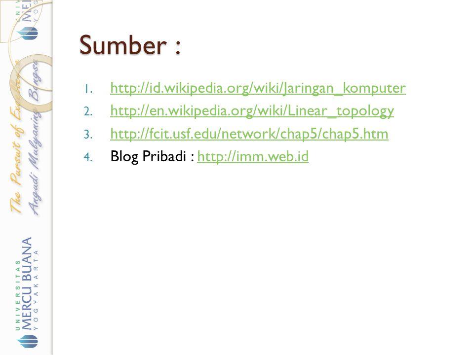 Sumber : 1. http://id.wikipedia.org/wiki/Jaringan_komputer http://id.wikipedia.org/wiki/Jaringan_komputer 2. http://en.wikipedia.org/wiki/Linear_topol