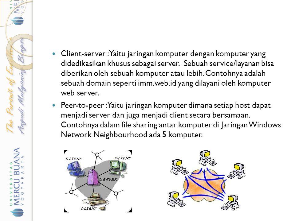Client-server : Yaitu jaringan komputer dengan komputer yang didedikasikan khusus sebagai server. Sebuah service/layanan bisa diberikan oleh sebuah ko