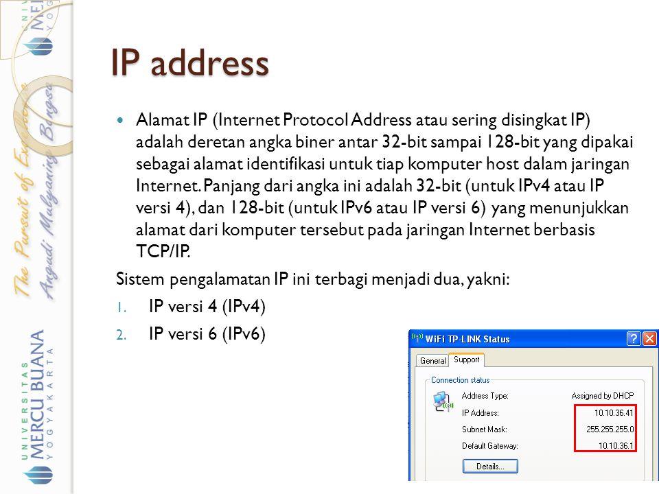 IP address Alamat IP (Internet Protocol Address atau sering disingkat IP) adalah deretan angka biner antar 32-bit sampai 128-bit yang dipakai sebagai alamat identifikasi untuk tiap komputer host dalam jaringan Internet.