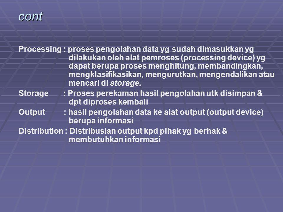 cont Processing : proses pengolahan data yg sudah dimasukkan yg dilakukan oleh alat pemroses (processing device) yg dapat berupa proses menghitung, me