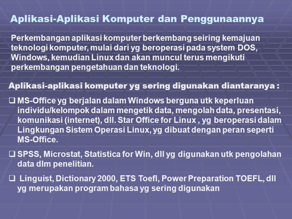 Aplikasi-Aplikasi Komputer dan Penggunaannya Perkembangan aplikasi komputer berkembang seiring kemajuan teknologi komputer, mulai dari yg beroperasi p