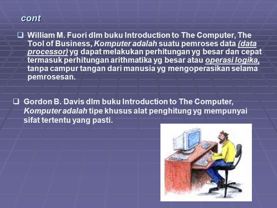 komputer Alat elektronik Dapat menerima input data Dapat mengolah data Dapat memberikan informasi Menggunakan suatu program yg tersimpan di memori komputer (stored program) Dapat menyimpan program dan hasil pengolahan Bekerja secara otomatis