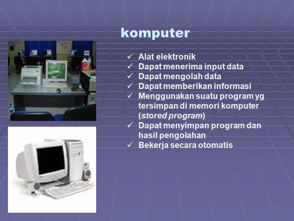 Bagian-bagian Komputer A.Hardware (Perangkat Keras)  Prosesor, atau CPU unit yang mengolah data  Memori RAM, tempat menyimpan data sementara  Hard drive, media penyimpanan semi permanen  Perangkat masukan, media yang digunakan untuk memasukkan data untuk diproses oleh CPU, seperti mouse, keyboard, dan tablet  Perangkat keluaran, media yang digunakan untuk menampilkan hasil keluaran pemrosesan CPU, seperti monitor dan printer.