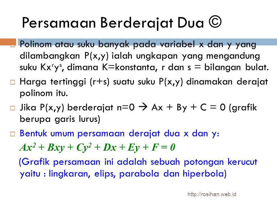 Persamaan Berderajat Dua ©  Polinom atau suku banyak pada variabel x dan y yang dilambangkan P(x,y) ialah ungkapan yang mengandung suku Kx r y s, dim