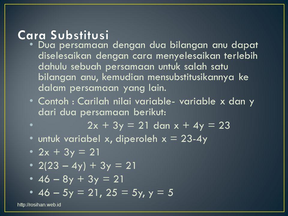 Dua persamaan dengan dua bilangan anu dapat diselesaikan dengan cara menyelesaikan terlebih dahulu sebuah persamaan untuk salah satu bilangan anu, kem