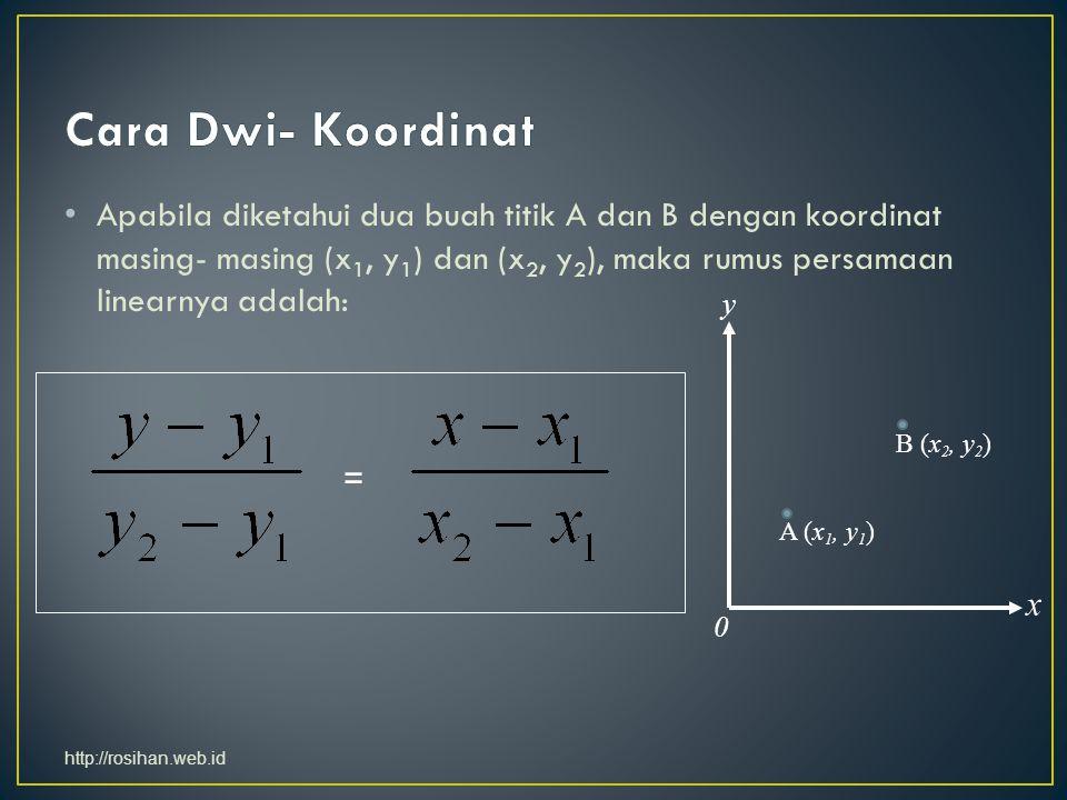 Apabila diketahui dua buah titik A dan B dengan koordinat masing- masing (x 1, y 1 ) dan (x 2, y 2 ), maka rumus persamaan linearnya adalah: = y x 0 A