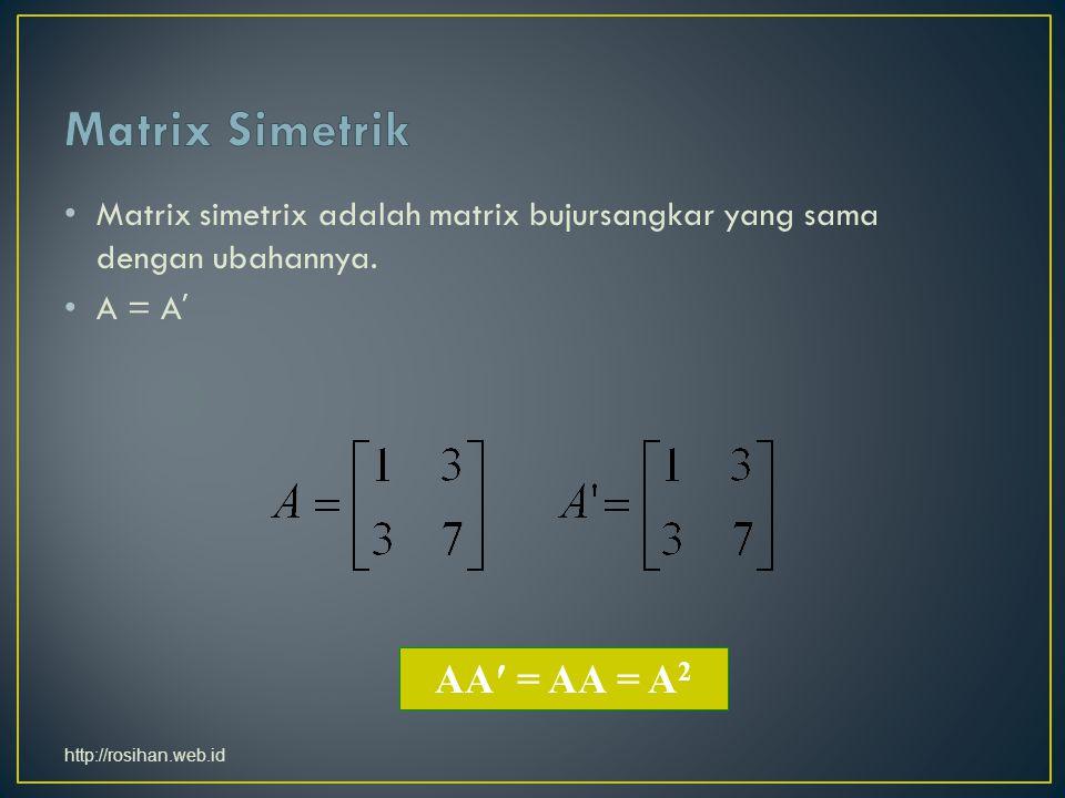 Matrix simetrix adalah matrix bujursangkar yang sama dengan ubahannya.