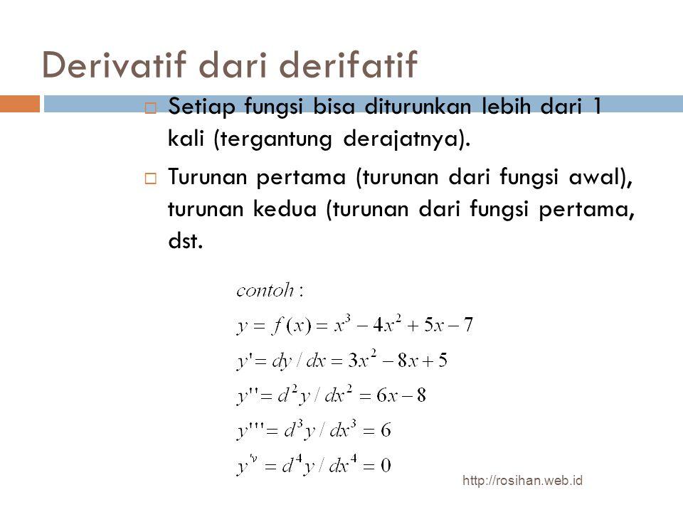 Derivatif dari derifatif  Setiap fungsi bisa diturunkan lebih dari 1 kali (tergantung derajatnya).  Turunan pertama (turunan dari fungsi awal), turu