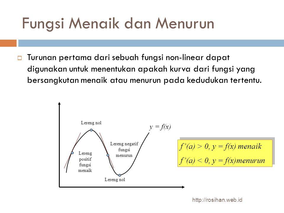 Fungsi Menaik dan Menurun  Turunan pertama dari sebuah fungsi non-linear dapat digunakan untuk menentukan apakah kurva dari fungsi yang bersangkutan