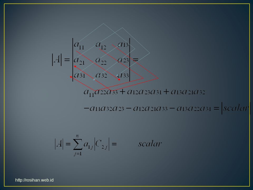Laplace Expansion by cofactors; if |A| = 0, then |A| is singular, i.e., under identified http://rosihan.web.id