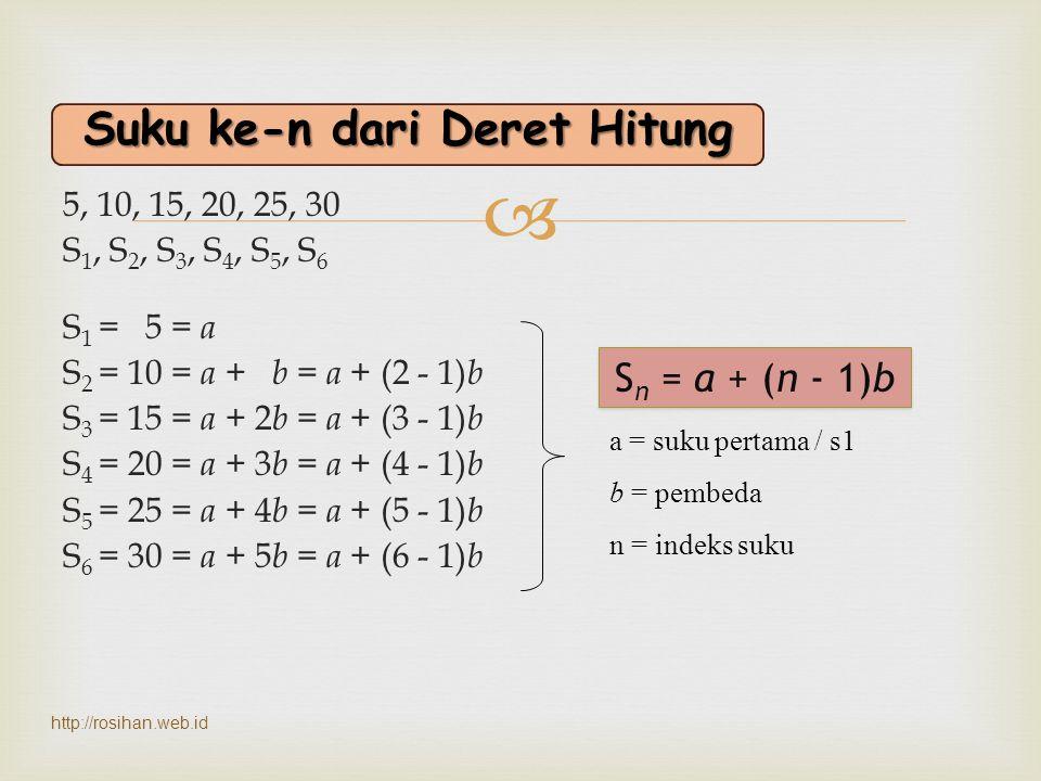  Dengan manipulasi matematis, bisa diketahui nilai sekarang (present value) : faktor diskonto Suku 1/(1+i) n dan 1/(1+i/m) mn dinamakan faktor diskonto (discount factor), yaitu suatu bilangan lebih kecil dari 1 yang dapat dipakai untuk menghitung nilai sekarang dari suatu jumlah dimasa datang.