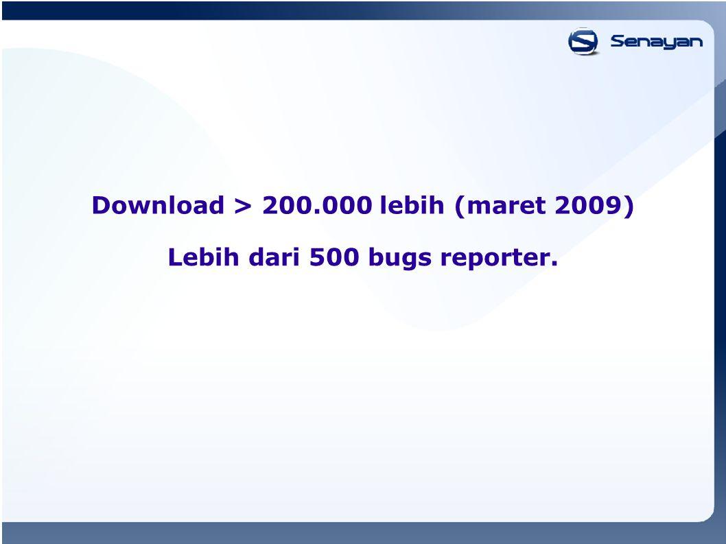 Download > 200.000 lebih (maret 2009) Lebih dari 500 bugs reporter.