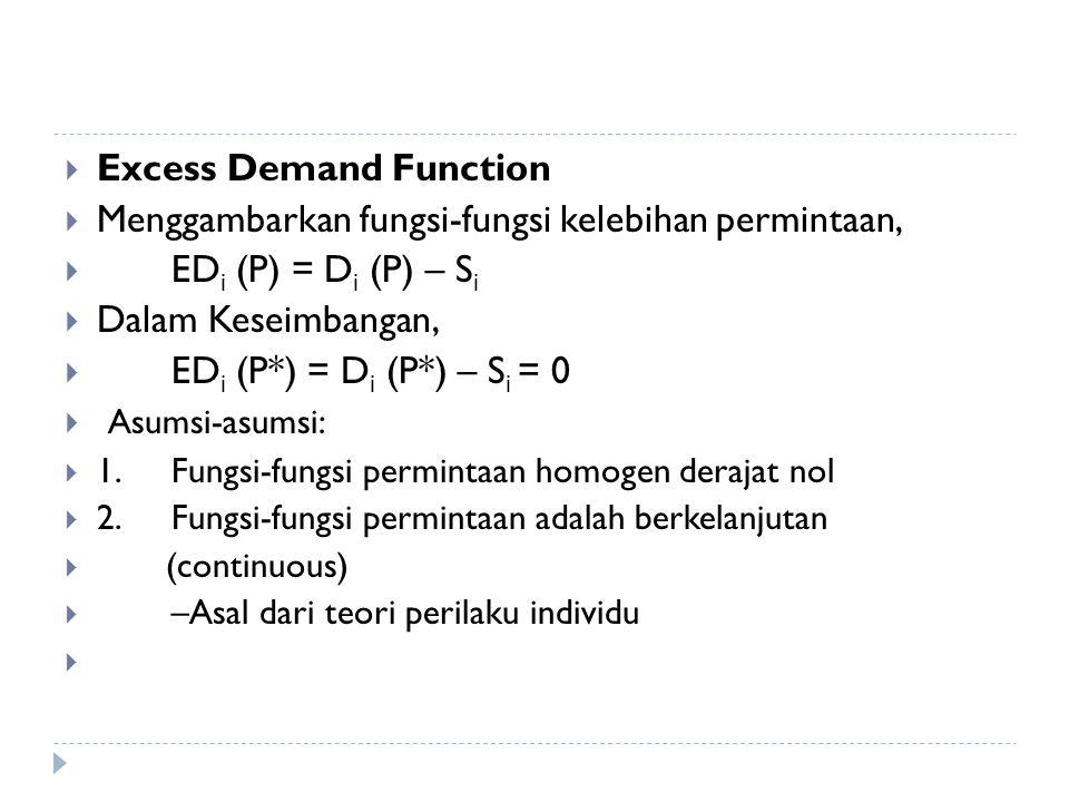  Excess Demand Function  Menggambarkan fungsi-fungsi kelebihan permintaan,  ED i (P) = D i (P) – S i  Dalam Keseimbangan,  ED i (P*) = D i (P*) –