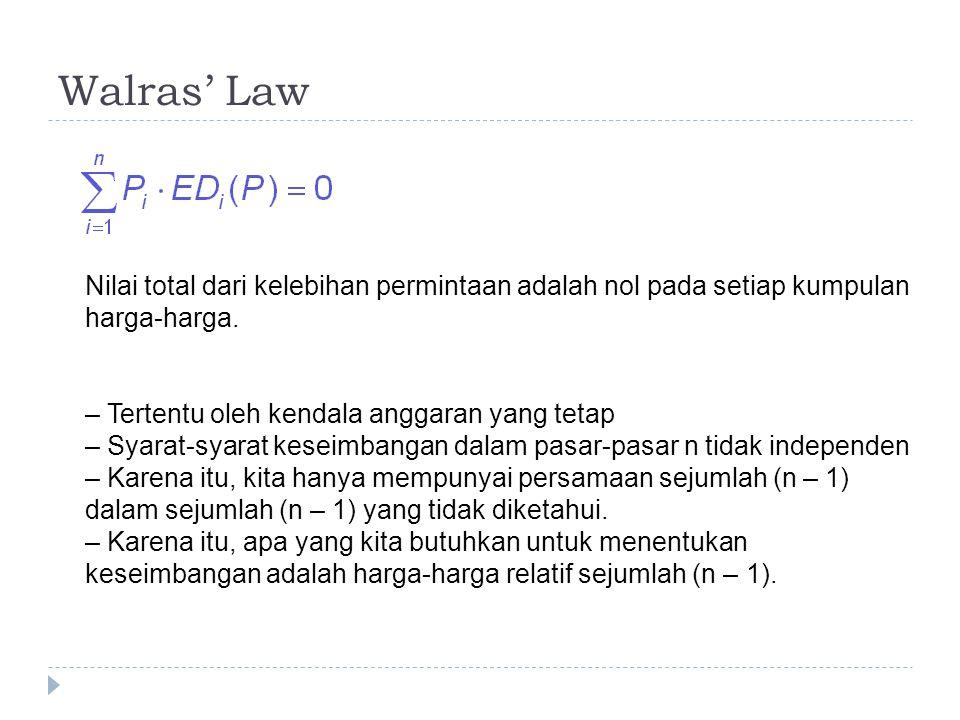 Walras' Law Nilai total dari kelebihan permintaan adalah nol pada setiap kumpulan harga-harga. – Tertentu oleh kendala anggaran yang tetap – Syarat-sy