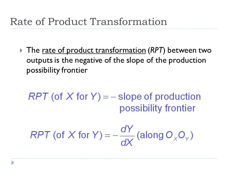 Quantitas XX3X3 X2X2 X1X1 Y4Y4 Y3Y3 Y2Y2 Y1Y1 X4X4 QXQX QYQY Quantitas Y Nilai negatif slope dari garis singgung pada batas kemungkinan-kemungkinan produksi adalah Tingkat transformasi produk (rate of product transformation) RPT = RPT kecil RPT kecil