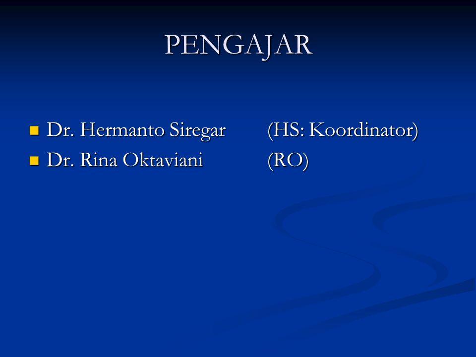 PENGAJAR Dr. Hermanto Siregar(HS: Koordinator) Dr. Hermanto Siregar(HS: Koordinator) Dr. Rina Oktaviani(RO) Dr. Rina Oktaviani(RO)