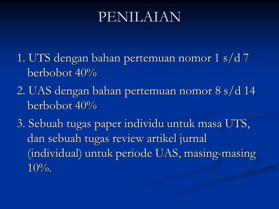 PENILAIAN 1. UTS dengan bahan pertemuan nomor 1 s/d 7 berbobot 40% 2. UAS dengan bahan pertemuan nomor 8 s/d 14 berbobot 40% 3. Sebuah tugas paper ind
