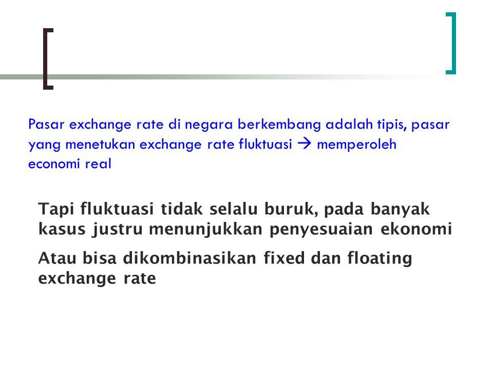 Pendekatan pada Exchane Rate Policy Ada 2 pendekatan kebijakan exchange rate di negara berkembang : Real Target Nominal exchange rate adalah instrumen kebijakan yang berbeda dari kebijakan fiskal & moneter domestik Swan Salter model  jika terjadi neraca berjalan defisit  exchange rate terdepresiasi, to correct it Pemerintah dipercaya untuk membuat kebijakan
