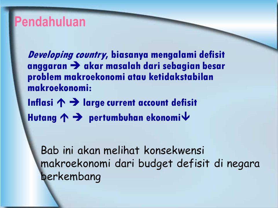 KONSEKUENSI MAKROEKONOMI DARI DEFISIT ANGGARAN  Hubungan antara defisit anggaran dengan indikator makroekonomi tdk langsung tapi tergantung dari bgmn defisit anggaran dibiayai dan untuk berapa lama  Tiga sumber pembiayaan : 1.