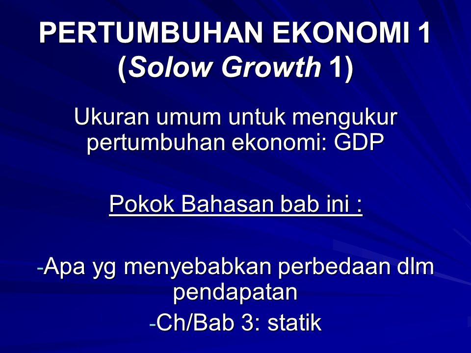 PERTUMBUHAN EKONOMI 1 (Solow Growth 1) Ukuran umum untuk mengukur pertumbuhan ekonomi: GDP Pokok Bahasan bab ini : - Apa yg menyebabkan perbedaan dlm