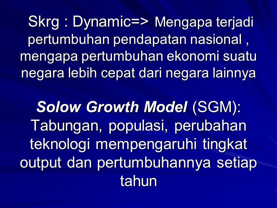 Skrg : Dynamic=> Mengapa terjadi pertumbuhan pendapatan nasional, mengapa pertumbuhan ekonomi suatu negara lebih cepat dari negara lainnya Solow Growt