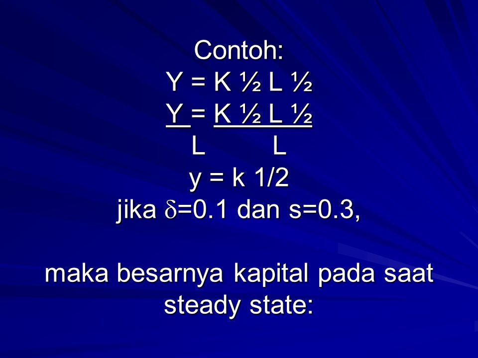 Contoh: Y = K ½ L ½ Y = K ½ L ½ L L y = k 1/2 jika  =0.1 dan s=0.3, maka besarnya kapital pada saat steady state: