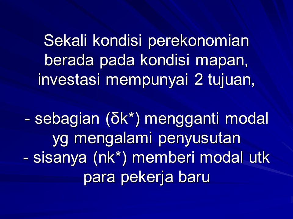 Sekali kondisi perekonomian berada pada kondisi mapan, investasi mempunyai 2 tujuan, - sebagian (δk*) mengganti modal yg mengalami penyusutan - sisany