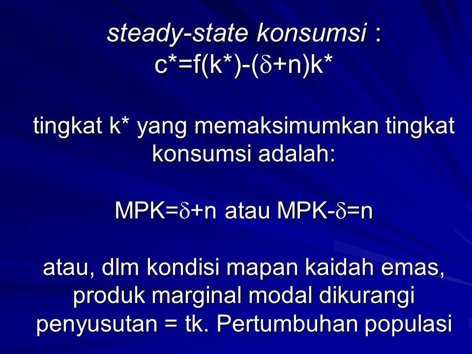 steady-state konsumsi : c*=f(k*)-(  +n)k* tingkat k* yang memaksimumkan tingkat konsumsi adalah: MPK=  +n atau MPK-  =n atau, dlm kondisi mapan kai