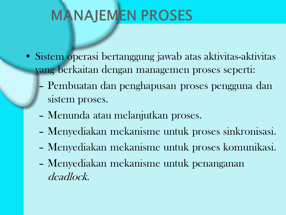 MANAJEMEN PROSES Sistem operasi bertanggung jawab atas aktivitas-aktivitas yang berkaitan dengan managemen proses seperti: –Pembuatan dan penghapusan proses pengguna dan sistem proses.