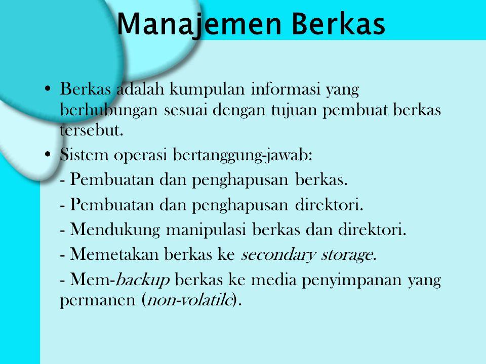 Manajemen Berkas Berkas adalah kumpulan informasi yang berhubungan sesuai dengan tujuan pembuat berkas tersebut.