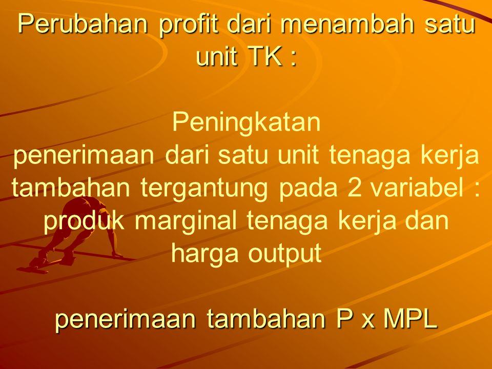 Dari MPL ke D TK Perubahan profit dari menambah satu unit TK : penerimaan tambahan P x MPL Dari MPL ke D TK Perubahan profit dari menambah satu unit TK : Peningkatan penerimaan dari satu unit tenaga kerja tambahan tergantung pada 2 variabel : produk marginal tenaga kerja dan harga output penerimaan tambahan P x MPL