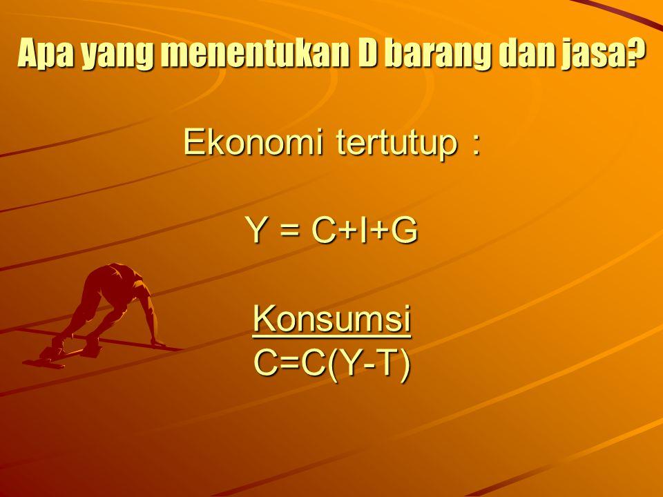 Apa yang menentukan D barang dan jasa? Ekonomi tertutup : Y = C+I+G Konsumsi C=C(Y-T)