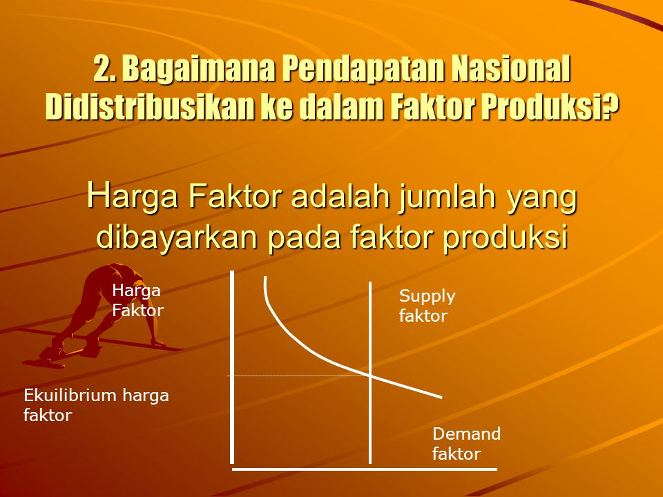 2. Bagaimana Pendapatan Nasional Didistribusikan ke dalam Faktor Produksi? H arga Faktor adalah jumlah yang dibayarkan pada faktor produksi Harga Fakt