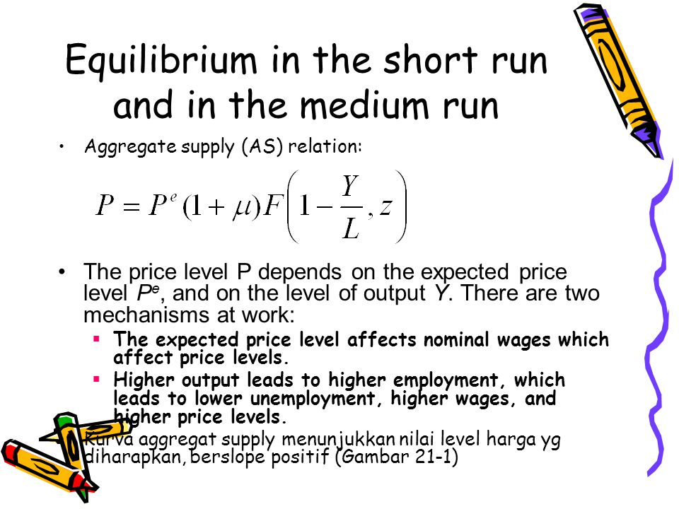 Equilibrium in the short run and in the medium run Aggregate supply (AS) relation: The price level P depends on the expected price level P e, and on the level of output Y.