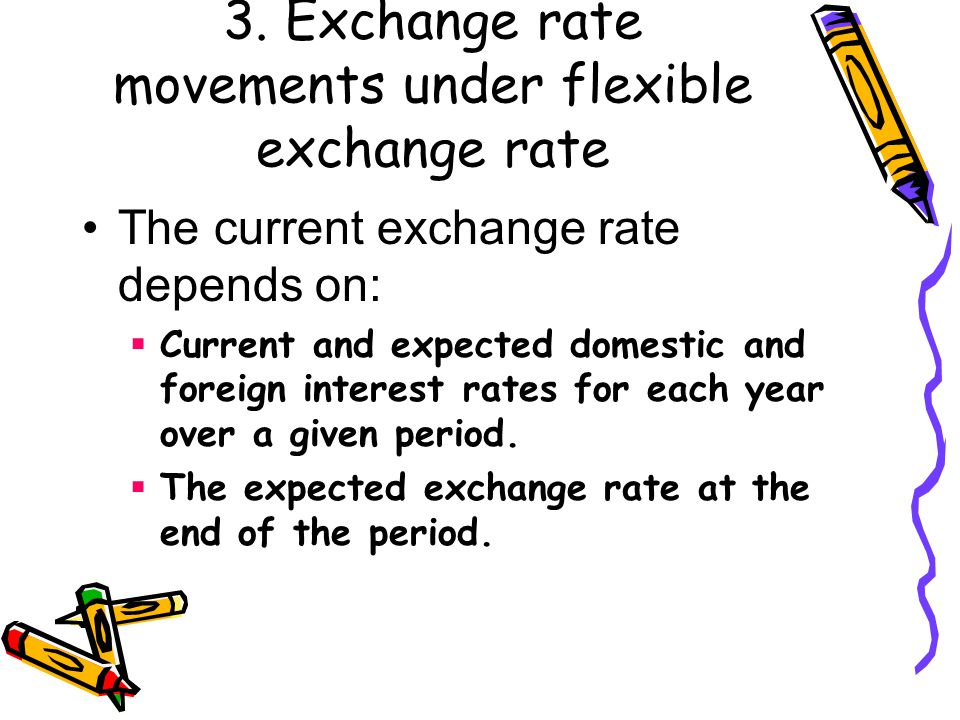 3. Exchange rate movements under flexible exchange rate The current exchange rate depends on:  Current and expected domestic and foreign interest rat