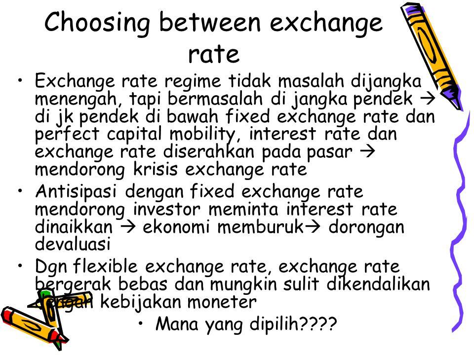 Choosing between exchange rate Exchange rate regime tidak masalah dijangka menengah, tapi bermasalah di jangka pendek  di jk pendek di bawah fixed ex