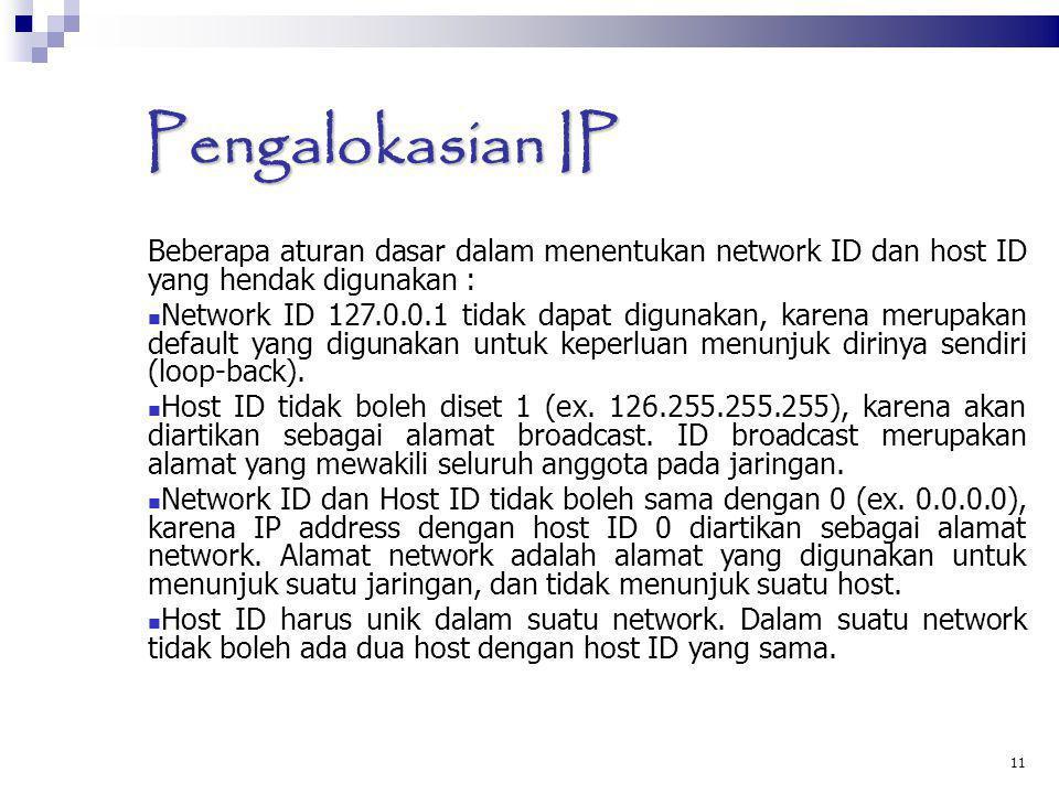 Pengalokasian IP Beberapa aturan dasar dalam menentukan network ID dan host ID yang hendak digunakan : Network ID 127.0.0.1 tidak dapat digunakan, kar