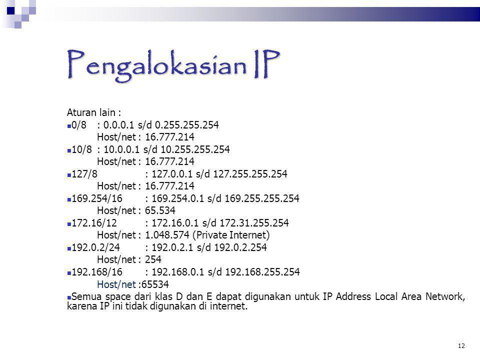 Pengalokasian IP Aturan lain : 0/8: 0.0.0.1 s/d 0.255.255.254 Host/net : 16.777.214 10/8: 10.0.0.1 s/d 10.255.255.254 Host/net : 16.777.214 127/8: 127
