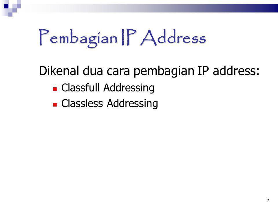 2 Pembagian IP Address Dikenal dua cara pembagian IP address: Classfull Addressing Classless Addressing