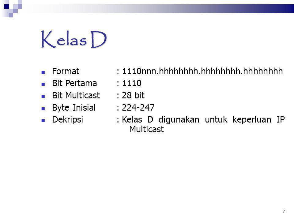 7 Kelas D Format :1110nnn.hhhhhhhh.hhhhhhhh.hhhhhhhh Bit Pertama :1110 Bit Multicast:28 bit Byte Inisial:224-247 Dekripsi:Kelas D digunakan untuk kepe