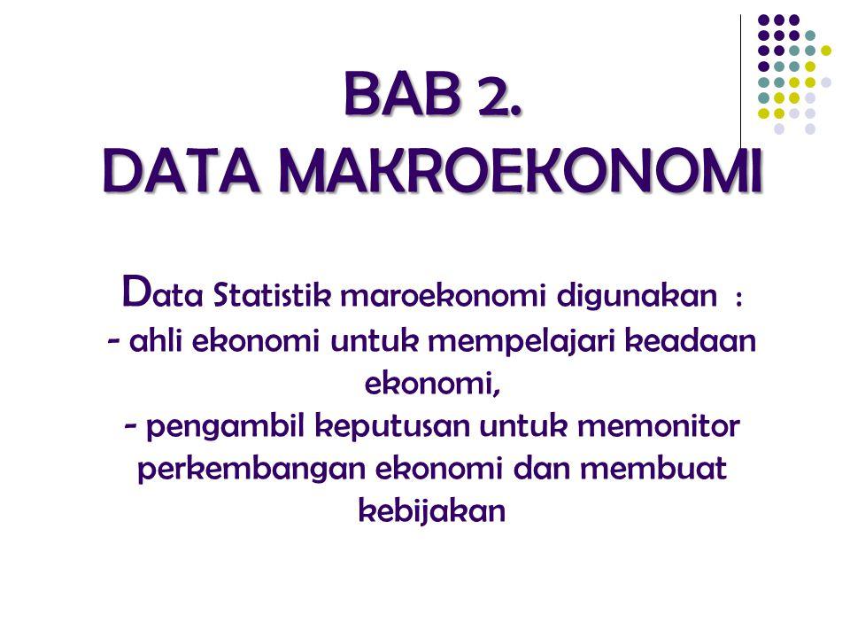 BAB 2. DATA MAKROEKONOMI BAB 2. DATA MAKROEKONOMI D ata Statistik maroekonomi digunakan : - ahli ekonomi untuk mempelajari keadaan ekonomi, - pengambi