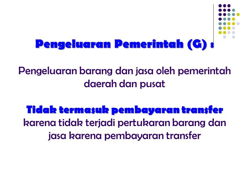 Pengeluaran Pemerintah (G) : Tidak termasuk pembayaran transfer Pengeluaran Pemerintah (G) : Pengeluaran barang dan jasa oleh pemerintah daerah dan pu
