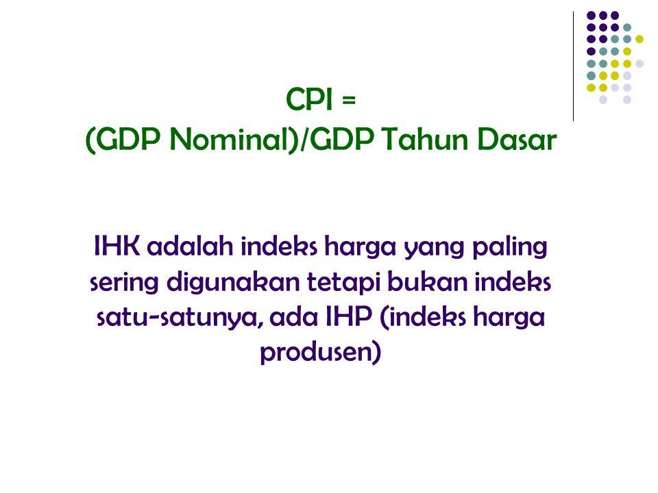 CPI = (GDP Nominal)/GDP Tahun Dasar IHK adalah indeks harga yang paling sering digunakan tetapi bukan indeks satu-satunya, ada IHP (indeks harga produ