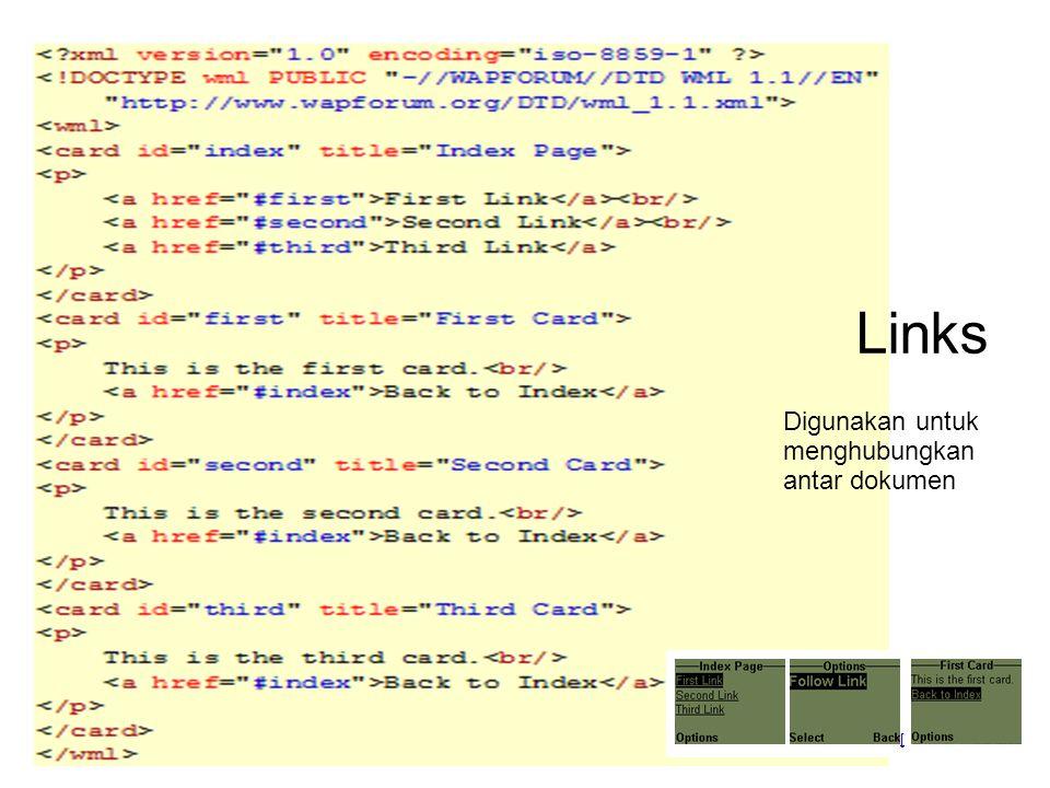 Links Digunakan untuk menghubungkan antar dokumen