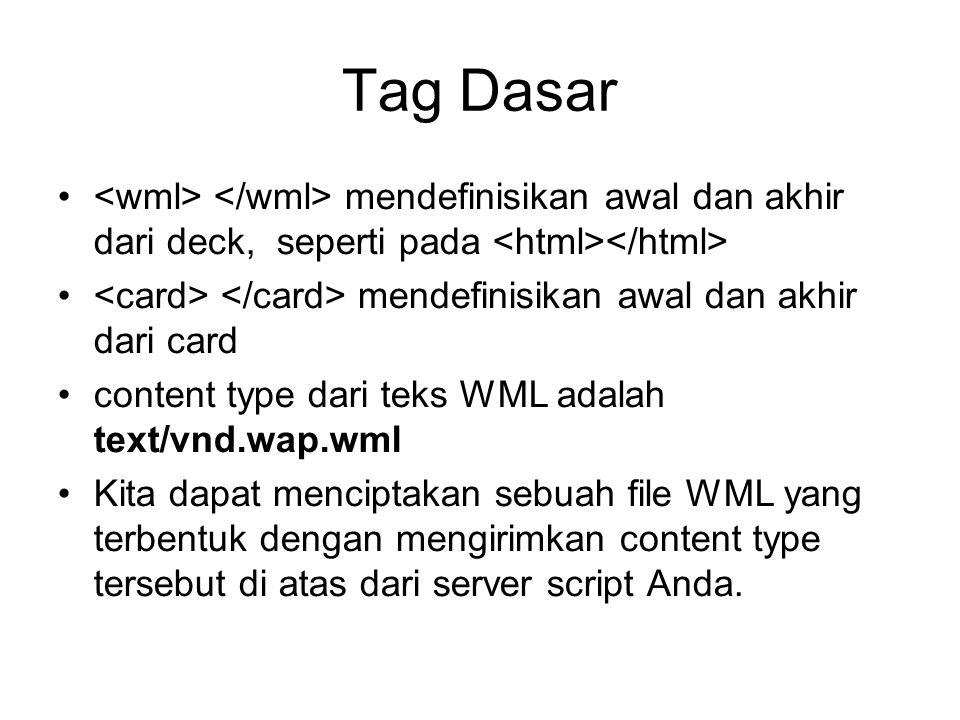 Tag Dasar mendefinisikan awal dan akhir dari deck, seperti pada mendefinisikan awal dan akhir dari card content type dari teks WML adalah text/vnd.wap